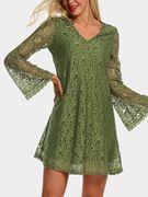 Green Lace Details V-neck Dress