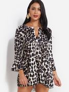 Leopard Stitching Design V-neck Bell Sleeves Dress