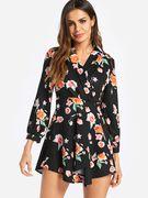 Black Self-tie Design Random Floral Print V Neck Mini Dress