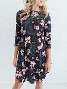 Grey Random Floral Print 3/4 Length Sleeves Midi Dress