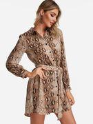 Brown Button Design Leopard V-neck Long Sleeves Mini Dress