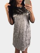 Light Brown Round Neck Half Sleeves Dress with Beads Design
