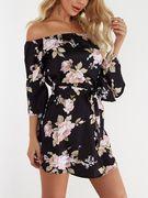 Black Lace-up Design Floral Print Off The Shoulder Long Sleeves High-waisted Dress
