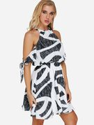 Geometrical Pattern Cold Shoulder Tie-up at Cuffs Stretch Waistband Dress