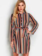 Stripe Button Design Lapel Collar Long Sleeves Loose Waist Dress