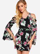 Black Slit Design Random Floral Print Cold Shoulder Long Sleeves Dress