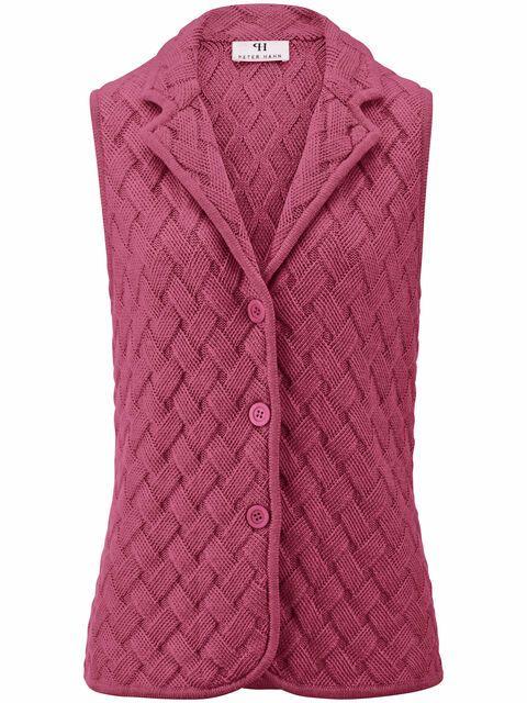 Mouwloos vest van 100% scheerwol Van Peter Hahn lichtroze