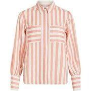 VILA Gestreept Overhemd Dames Roze