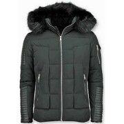 Zwarte Bontjas -Zwarte Winterjas - Winterjas Heren - Nep Bontjas - Zwart