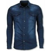 T-shirt Diele   Co  Biker Denim Shirt - Slim Fit Ribbel Schoulder