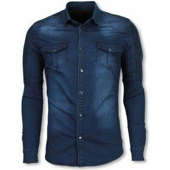 T-shirt Diele   Co  Biker Denim Shirt - Slim Fit Ribbel Schoulder