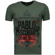 T-shirt Korte Mouw Local Fanatic  Pablo Escobar Boss - Rhinestone T-shirt