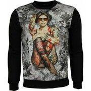 Sweater - Bloemen Motief Getatoeerd Dame Print Heren - Zwart