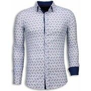 Italiaanse Overhemden - Slim Fit Blouse - Daisy Pattern - Wit