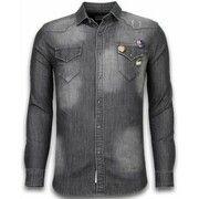 Overhemd Lange Mouw Bread   Buttons  Denim Shirt - Spijkerblouse Slim Fit - 3 Buttons