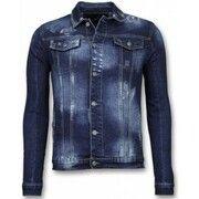 Spijkerjasje - Stone Wash Spijkerjasje Heren Denim Jacket - Donker Blauw