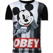 T-shirt Korte Mouw Local Fanatic  Obey Mouse  - Digital Rhinestone T-shirt