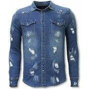 Overhemd Lange Mouw Diele   Co  Denim Shirt - Slim Fit Damaged Allover