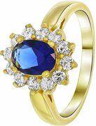Nouveau Vintage - Goldplated ring sapphire met zirkonia