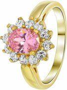 Nouveau Vintage - Goldplated ring pink met zirkonia