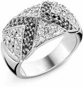 Orphelia Ring Black & White Zirconium Zilver 925 R-3237/56