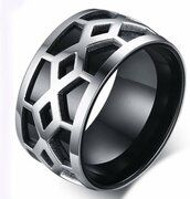 Edelstaal heren ring Biker Black Silver-21.5mm