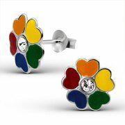 Zilveren kinderoorbellen gekleurde bloem mult color|blingdings